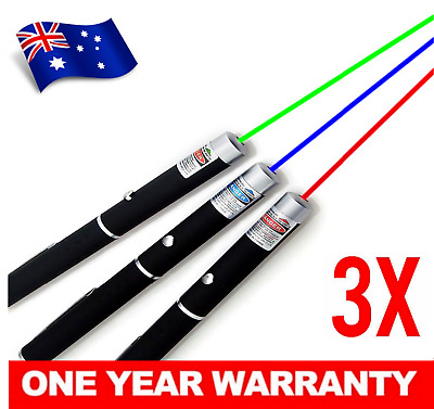 3 x Laser Pointer Red Purple Green 1mW Bright Beam High Powerful Colour Toy Pen