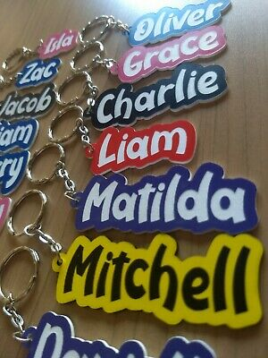 Name Key Ring - ANY SPELLING - School Bag Name Tag - NEW