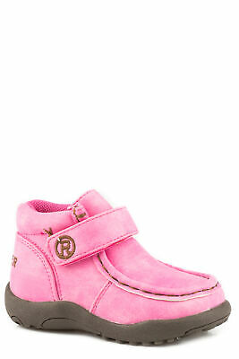 110d87cd3ac287 Roper Girls Infants Pink Faux Leather Cowbabies Moc Ankle Boots