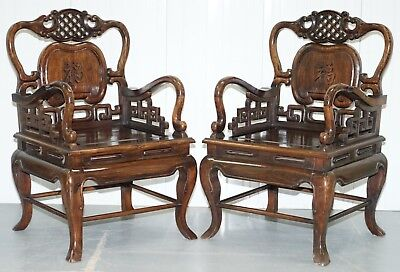 Pair Of Qing Dynasty Antique Chinese Heavy Hardwood Emperor Throne Armchairs