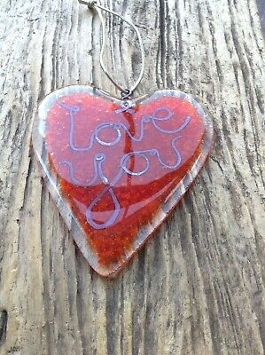 Valentine heart fused LARGE glass love token