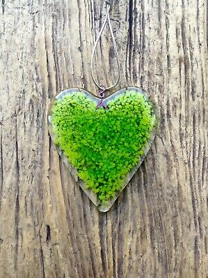 Mother's Day gift  heart fused LARGE green glass love token