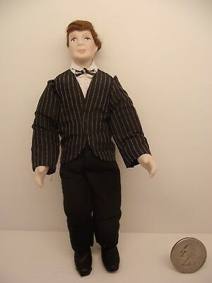 1:12 Scale Miniature Dollhouse Man Doll Porcelain Striped Blazer Artist Made