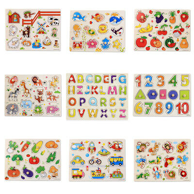 Learning Montessori Digital Baby Toys Jigsaw Wooden Puzzle Hand Grab Board