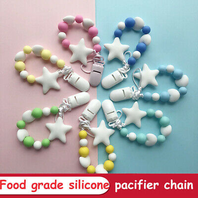Silicone  Chew Toy Star Shape Baby Teething Dummy Clips Soother Pacifier Chain