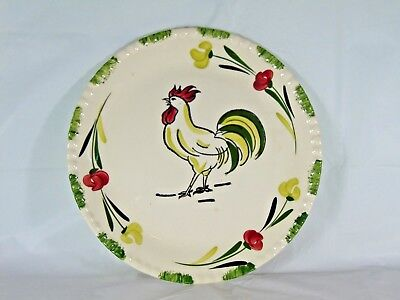 Blued Ridge Hand Painted Underglaze Southern Potteries Rooster Plate