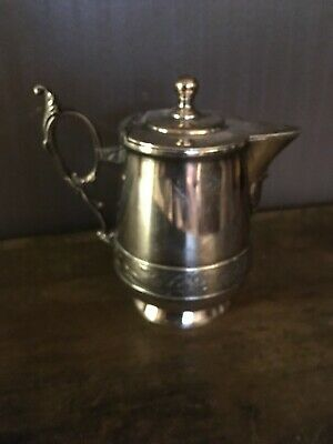 Silver plate cream pitcher w/ hinged lid 5 1/4'' high, good condition