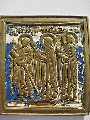 XIX Russian Antique cast bronze icon Guardian angel, Saints Zosima and Savvatiy
