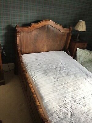 Antique French Wooden Sleigh bed, Lit Bateau, Flame Mahogany