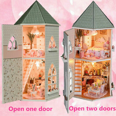 Childrens wooden dolls House & Furniture For complete with accessories