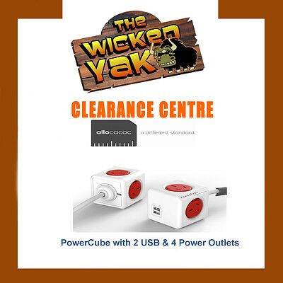 PowerCube by Allocacoc 1.5m Extended USB Powerboard 4 Power+2 USB Ports 2.1A RED