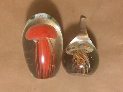 Set of 2 Vintage Jellyfish Hand Blown Glass Display/Paper Weight Very Good Cond
