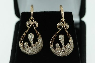 Art Nouveau Style 14K Rose Gold Water Drop Earrings with 212 Pave Diamonds