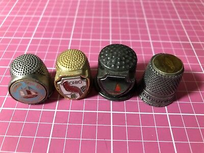 Ohio Souvenir Pewter Thimbles Lot Of 4