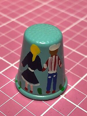 Italy Hand Painted Thimble Boy And Girl Holding Hands