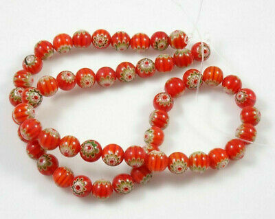 "Round Red & Green Millefiori Beads - 16"" Bead Strand - 8mm & 6mm Round Available"