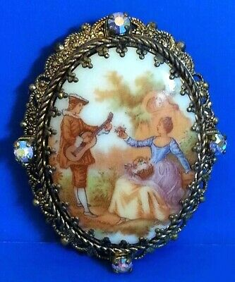 Antique Victorian  Ab Rhinestone Signed Made In Germany Courting Couple Brooch