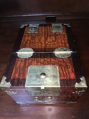 Antique Chinese Rosewood Mirrored Jewelry Vanity Chest Box