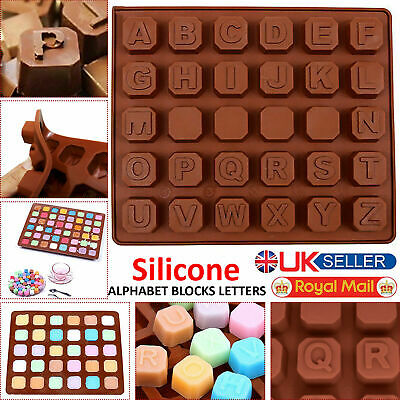 Silicone Alphabet Mould 30 DIY BRICKS NAMES LETTER WORD Chocolate Candy Mold UK