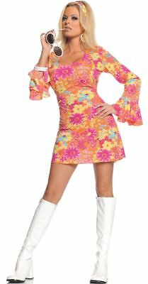 Ladies size 12 flower power long sleeve mini dress costume with head band.
