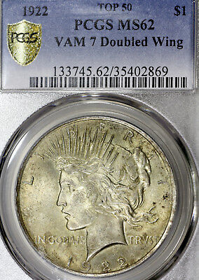1922-P MS62 VAM-7 Peace Silver Dollar $1, PCGS Graded, Doubled Wing Top 50 VAM!