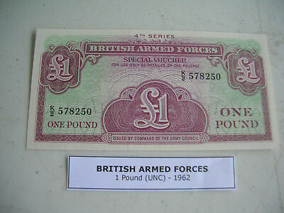 british armed forces one pound note crisp UNC 1962