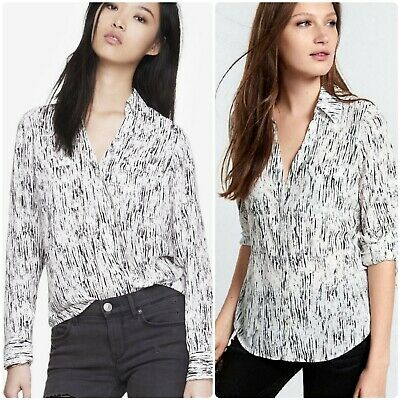 6dcd9503c6541 EXPRESS Women s Black   White Line Print Convertible Sleeve Portofino Shirt  ...