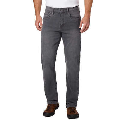 """Men's Urban Star RELAXED FIT STRAIGHT LEG JEAN 2-Way Stretch 2"""" Loop GRAY"""