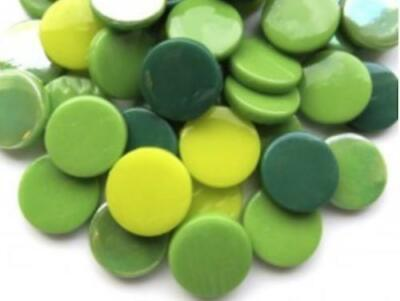 Mixed Green Large Glass Dots - Mosaic Tiles Supplies Art Craft