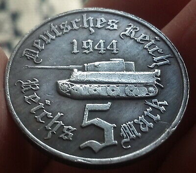 Third Reich 5 Reichsmark 1944 Adolf Hitler Exonumia Silvered Coin German WW2