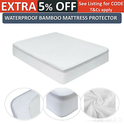 Luxury Bamboo Mattress Protector Fitted Waterproof Matress Bed Cover King Single