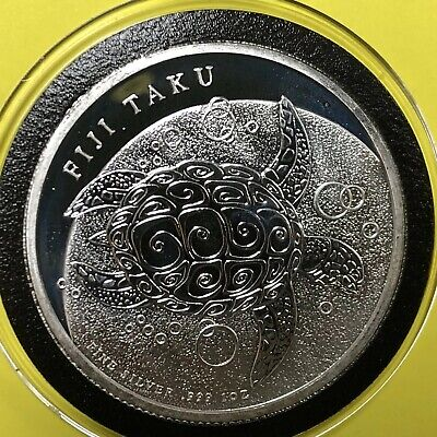 2013 FIJI TAKU Turtle 1 Troy Oz .999 Fine Silver Coin Round Proof Like Medal 999