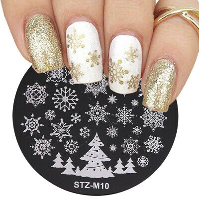 Flower Elk Stamp Stencil Christmas Round Nail Art Template Stamping Plates