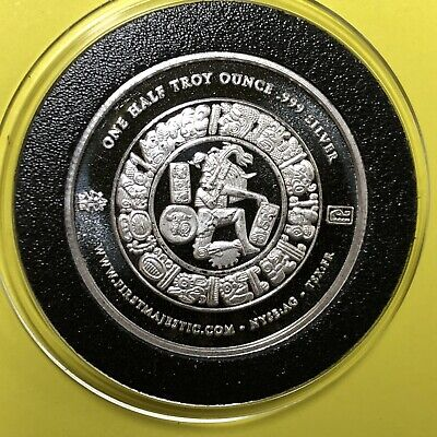 2012 Mayan Calendar First Majestic 1/2 Troy Oz .999 Fine Silver Coin Round Medal