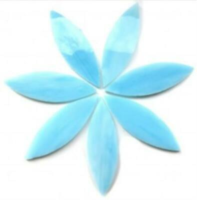 Large Ice Blue Stained Glass Petals - Mosaic Tiles Supplies Art Craft