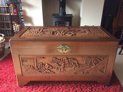 Large wooden Chinese Carved chest trunk Blanket Box Linen Storage Chest