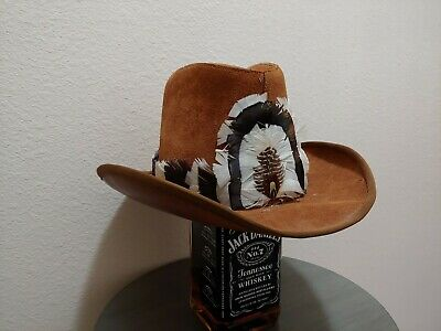 b3585302283 Henschel Westerns Leather Suede Western Cowboy Hat With Feathers band Size  Larg