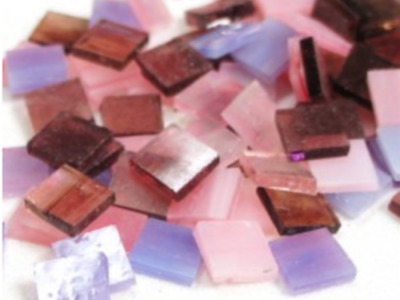 Pink & Purple Mixed Stained Glass Squares - Mosaic Tiles Supplies Craft
