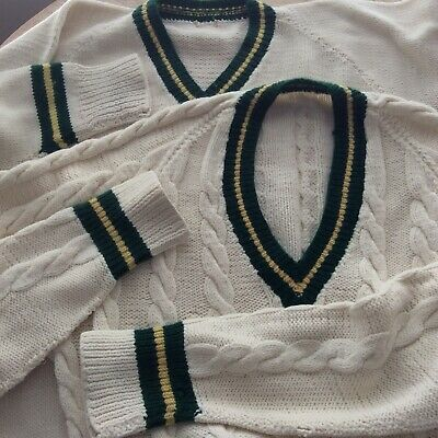 Two Vintage Men's Hand Knitted Cricket Jumpers