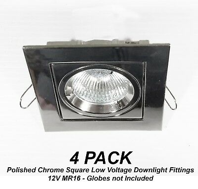 4 x Polished Chrome SQUARE Gimble Downlight Fittings 12V MR16 Gimbal Low Voltage