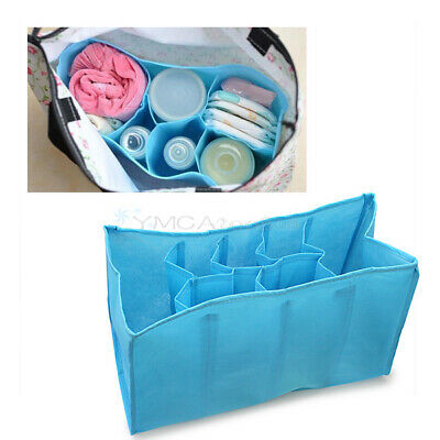 Hot Baby Organizer Bag Portable Diaper Nappy Bottle Divider Storage Pouch Blue