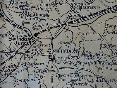 Wiltshire Tourists Map c 1890? by Bacon, very early Swindon, hand coloured