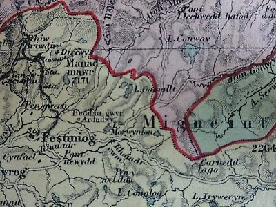 Very nice cloth map of North Wales reduced Ordnance Survey c 1890
