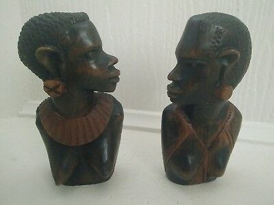 Vintage Retro  Carved Wooden African Heads, busts of Tribal Woman & Man