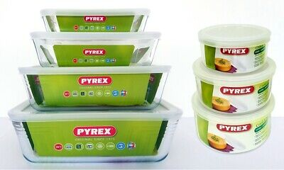 Pyrex Cook & Store Rectangle and Round Glass Sets w Lids Oven and Microwave Safe