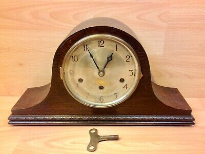 "Mauthe Oak Cased ""Napoleon"" Chiming Mantel Clock Working Order."