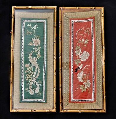 A Pair of chinese silk embroidered panels frames with gold bamboo frames