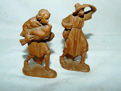 2 x Tyrolean Carved Wooden Crypt Figures circa 1920 similar to Black Forest?