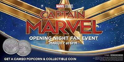 Captain Marvel Opening Night Fan Event AMC Collectible Marvel Coin + IMAX poster
