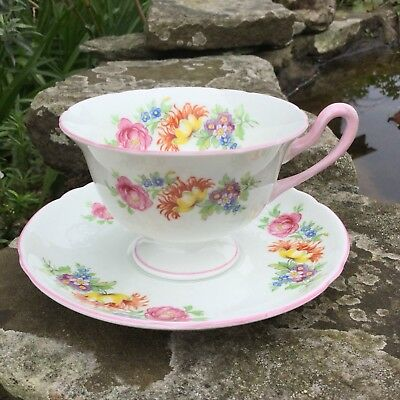 Shelley Cup And Saucer Davies Tulip Pink Gainsborough Shape, Shelley Floral Duo